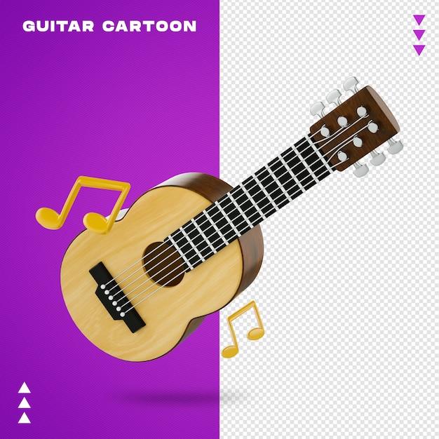 Guitarra acústica de desenho animado em renderização 3d Psd Premium