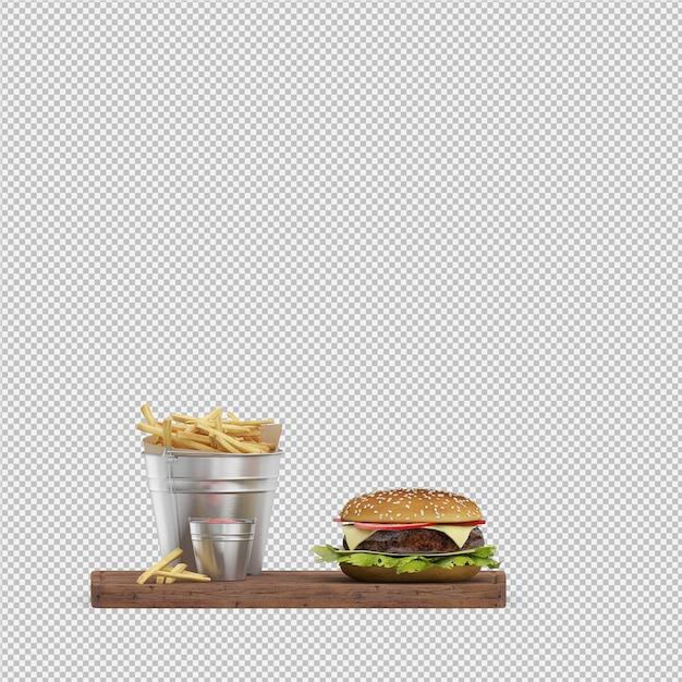 Hambúrguer 3d isolado render Psd Premium