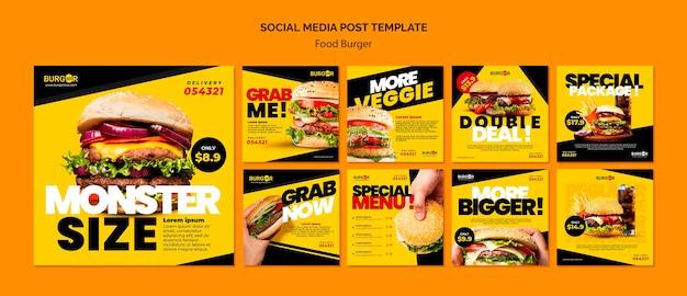 Hambúrguer com oferta especial de postagens nas redes sociais Psd grátis