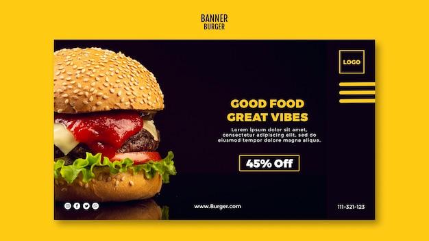 Hambúrguer de modelo de banner Psd Premium
