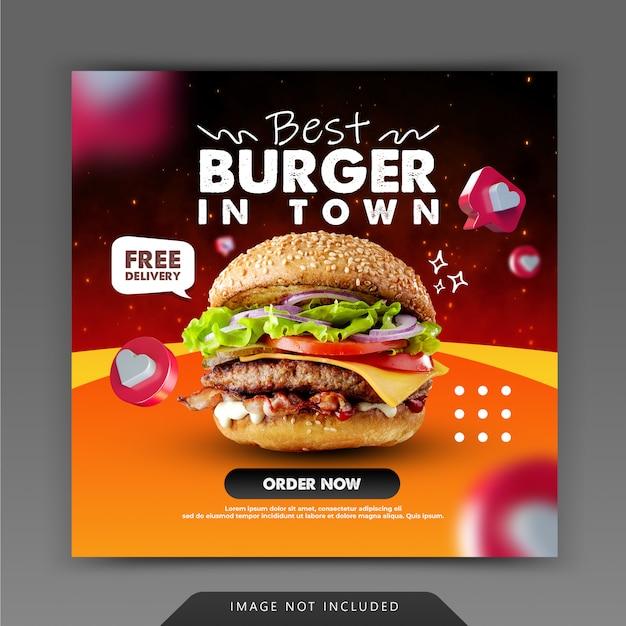 Hambúrguer fast food para promoção de postagem nas redes sociais do instagram Psd Premium