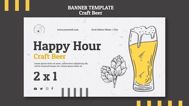 Happy hour de cerveja artesanal e banner de vidro Psd grátis