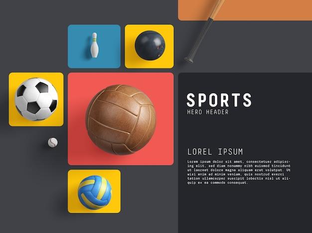 Herói dos esportes / gerador de cena de cabeçalho Psd Premium