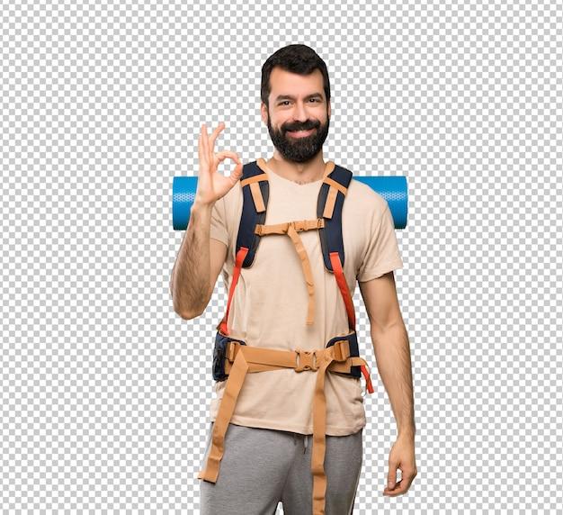 Hiker, homem, mostrando, tá bom sinal, com, dedos Psd Premium