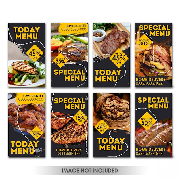 História mídia social post food grill Psd Premium