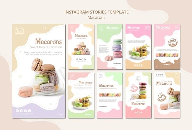 Histórias coloridas do instagram macarons franceses Psd grátis