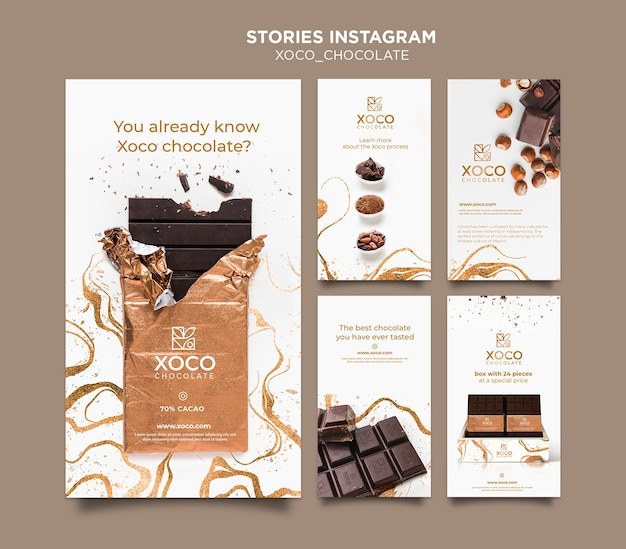 Histórias de chocolate instagram publicidade Psd grátis