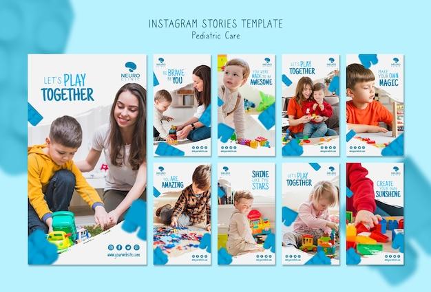 Histórias de instagram de conceito de cuidados pediátricos Psd grátis