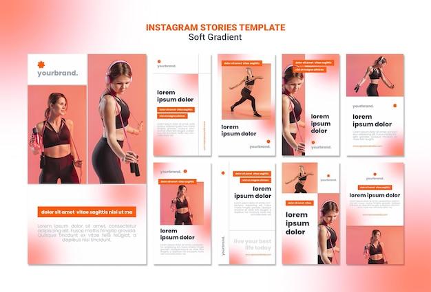 Histórias de instagram de mulher esportiva com gradiente suave Psd grátis