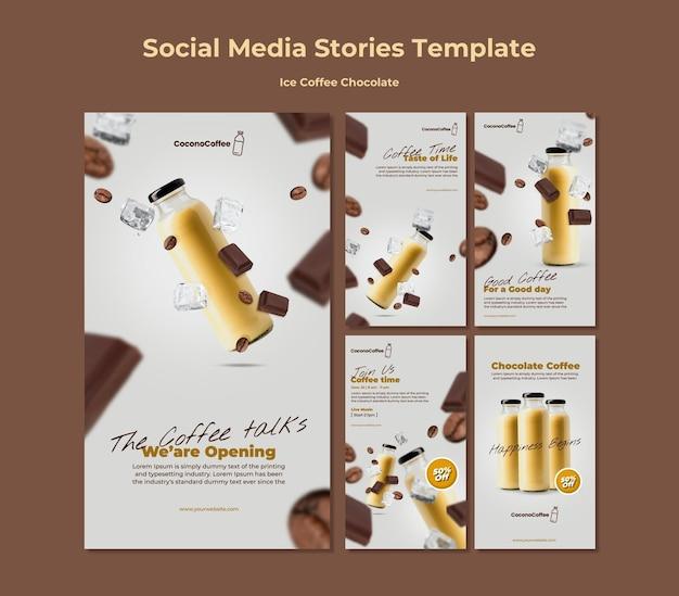 Histórias de mídia social de chocolate e café gelado Psd Premium