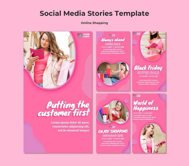Histórias de mídia social de compras online Psd Premium