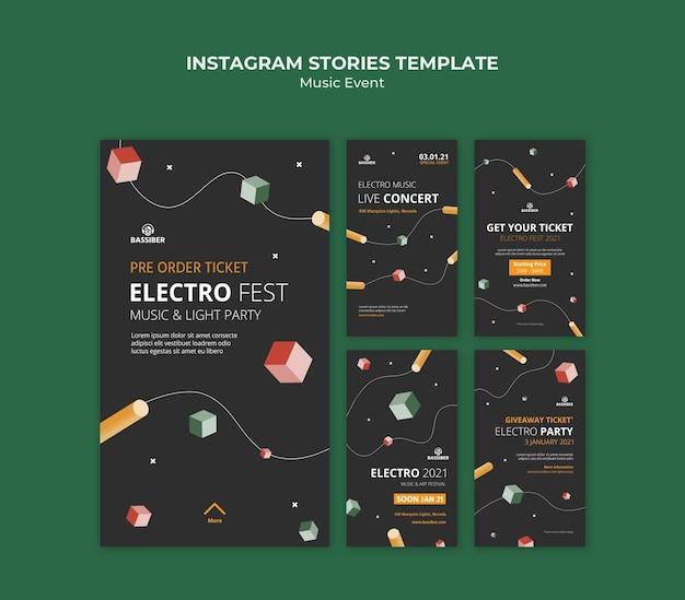 Histórias de mídia social de eventos musicais Psd Premium