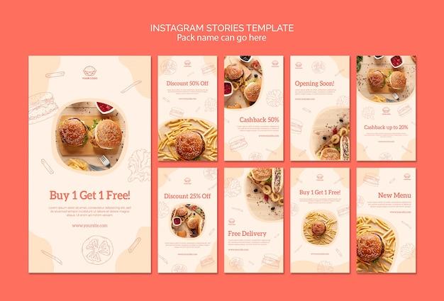 Histórias do instagram american food Psd grátis