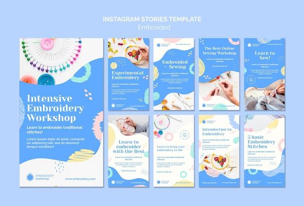 Histórias do instagram com bordados Psd Premium