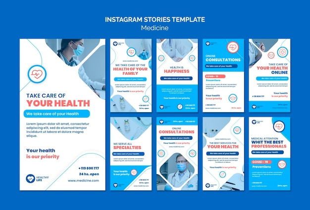 Histórias do instagram de prevenção covid19 de medicina Psd grátis