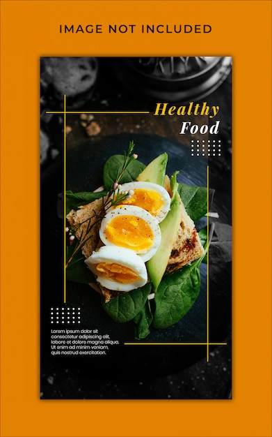 Histórias do instagram de promoção de menu de comida saudável modelo de banner Psd Premium