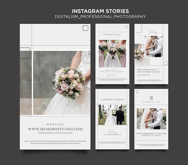 Histórias do instagram do conceito de digitalismo Psd Premium