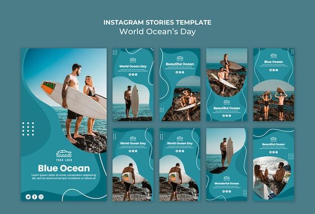 Histórias do instagram do dia mundial do oceano Psd grátis