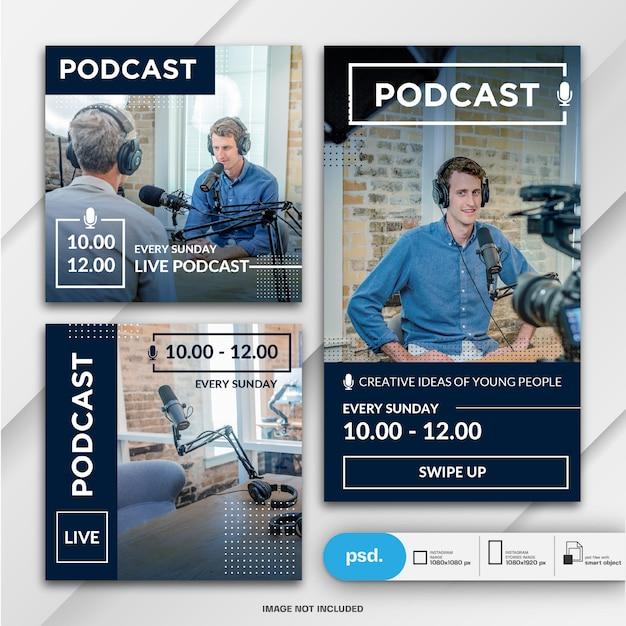 Histórias do instagram e publicação de feed para o modelo de podcast Psd Premium