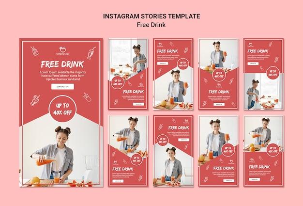 Histórias gratuitas do instagram de bebidas Psd grátis
