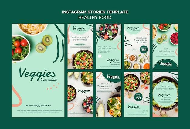 Histórias saudáveis do instagram de alimentos Psd grátis