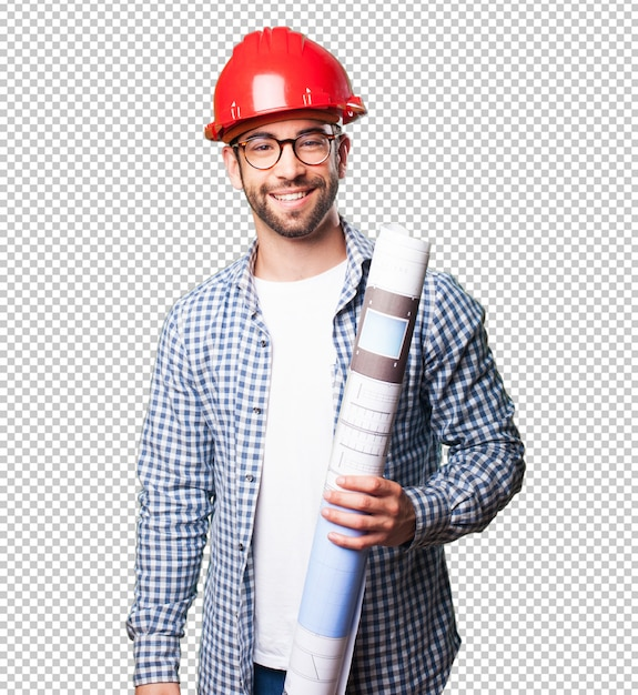 Homem arquiteto sorrindo Psd Premium