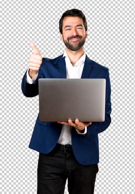 Homem bonito com laptop Psd Premium