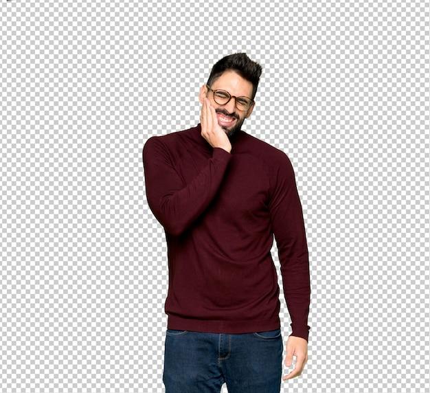 Homem bonito com óculos com dor de dente Psd Premium