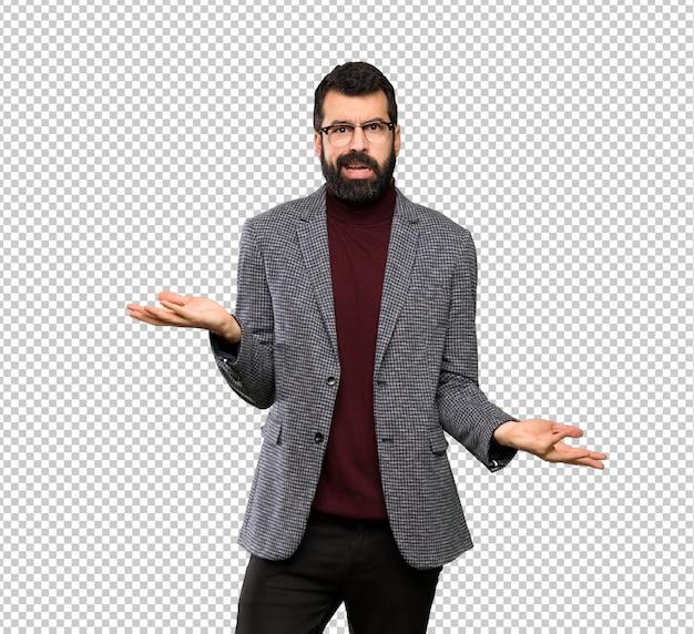 Homem bonito com óculos infeliz por não entender algo Psd Premium