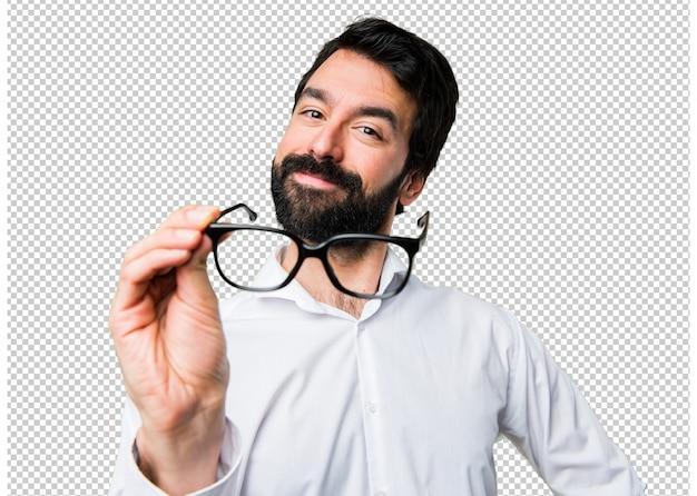 Homem bonito com óculos Psd Premium