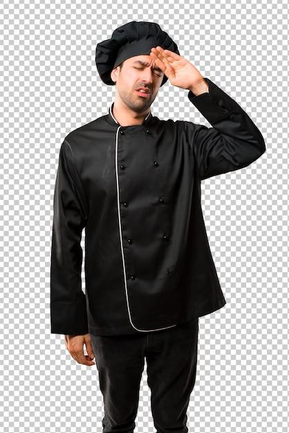 Homem chef, em, uniforme preto, com, cansado, e, expressão doente Psd Premium