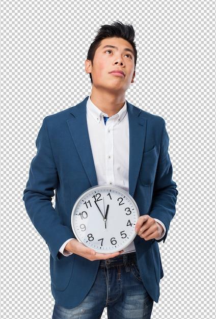 Homem chinês, com, relógio Psd Premium