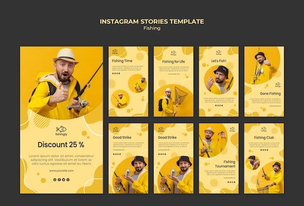 Homem de casaco de pesca amarelo instagram stories Psd grátis