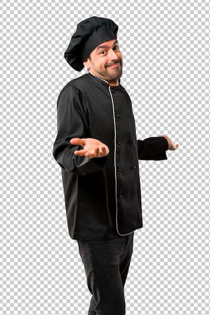 Homem de chef de uniforme preto, tornando sem importância e duvida gesto Psd Premium