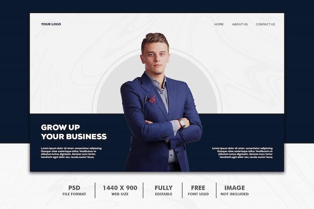 Homem de negócios da página de destino da web Psd Premium