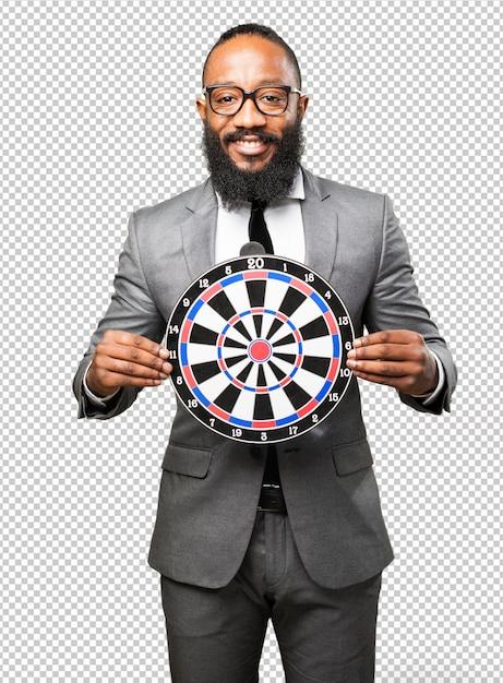 Homem de negócios preto segurando um alvo Psd Premium