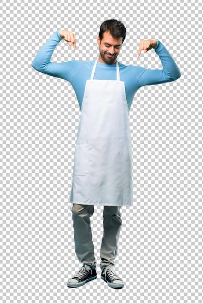 Homem, desgastar, um, avental, apontar baixo, com, dedos Psd Premium