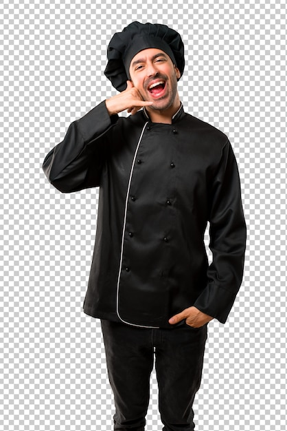 Homem do cozinheiro chefe no uniforme preto que faz o gesto do telefone e que fala com alguém. me ligue de volta Psd Premium