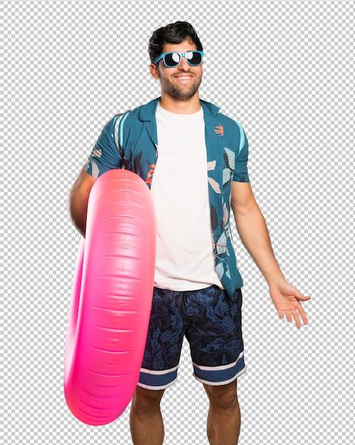 Homem, em, troncos, com, óculos, e, feliz Psd Premium