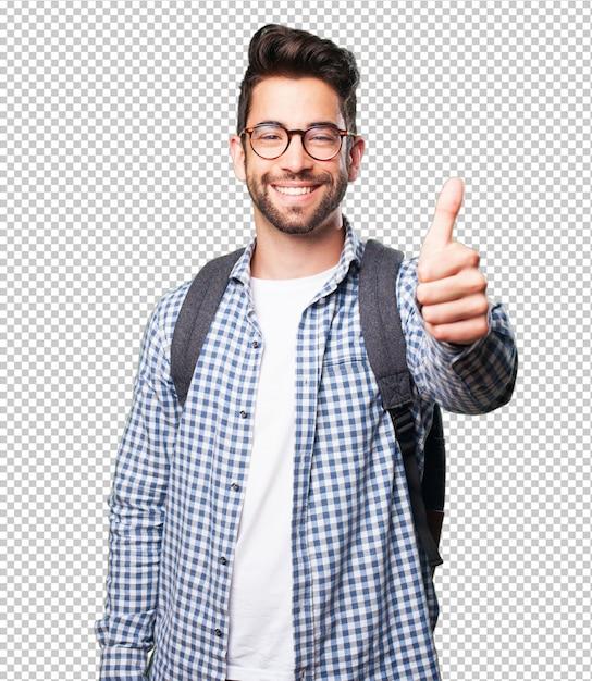 Homem estudante, fazendo, aprovação, gesto Psd Premium