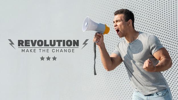 Homem gritando através de megafone Psd Premium