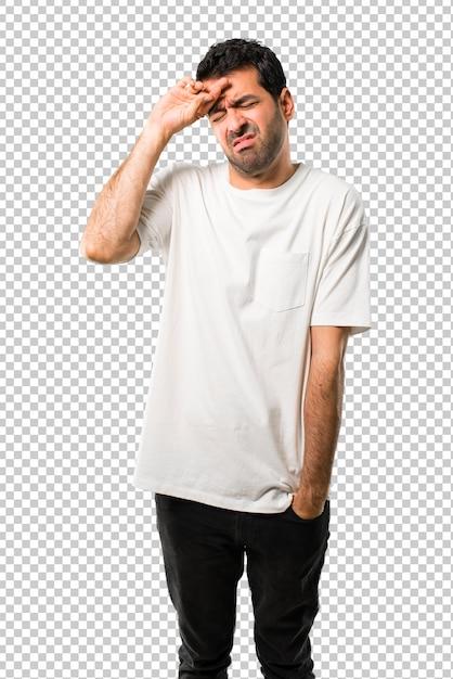 Homem jovem, com, camisa branca, com, cansado, e, expressão doente Psd Premium