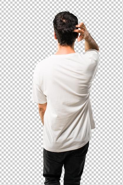 eeb7256dde Homem jovem, com, camisa branca, costas, posição, olhando para trás ...