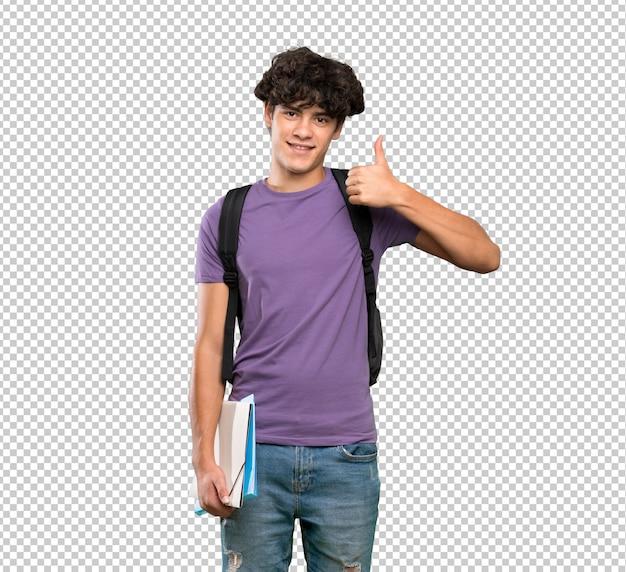 Homem jovem estudante com polegares para cima gesto e sorrindo Psd Premium