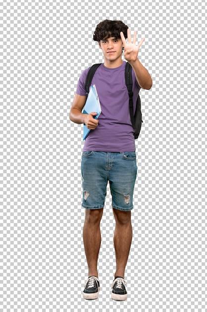 Homem jovem estudante feliz e contando com quatro dedos Psd Premium