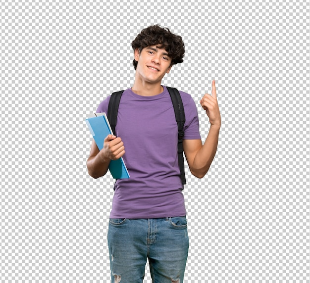 Homem jovem estudante mostrando e levantando um dedo em sinal dos melhores Psd Premium