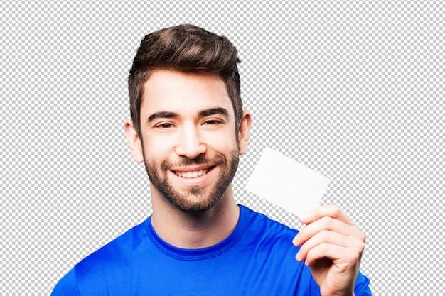Homem jovem, segurando, cartão visita Psd Premium