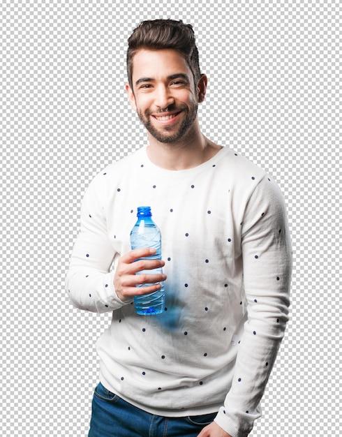 Homem jovem, segurando, garrafa água Psd Premium