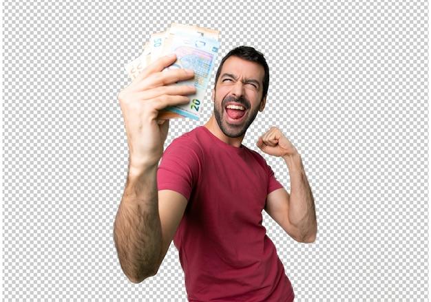 Homem, levando, muito, dinheiro, celebrando, um, vitória Psd Premium