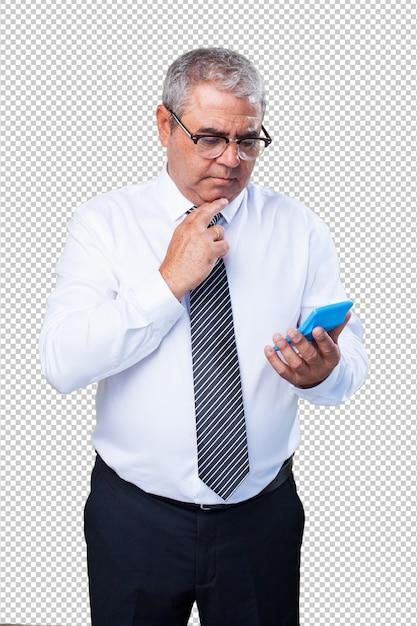 Homem maduro, calculando algo Psd Premium